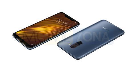 Xiaomi Pocophone F1 azul vista delantera y trasera