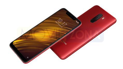 Xiaomi Pocophone F1 rojo vista delantera y trasera