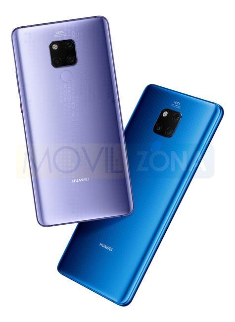 Huawei Mate 20 x violeta y azul