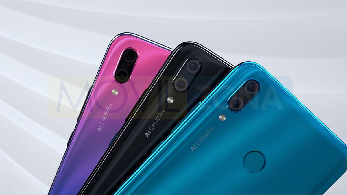 Huawei Y9 2019 rojo, negro y azul