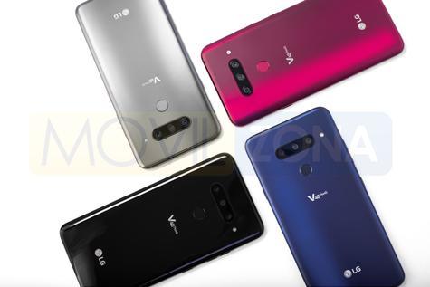 LG V40 ThinQ azul, negro, rojo y plata