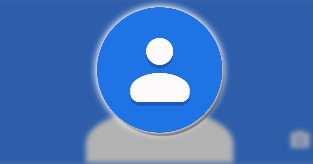 Logotipo de contactos de Google con fondo azul
