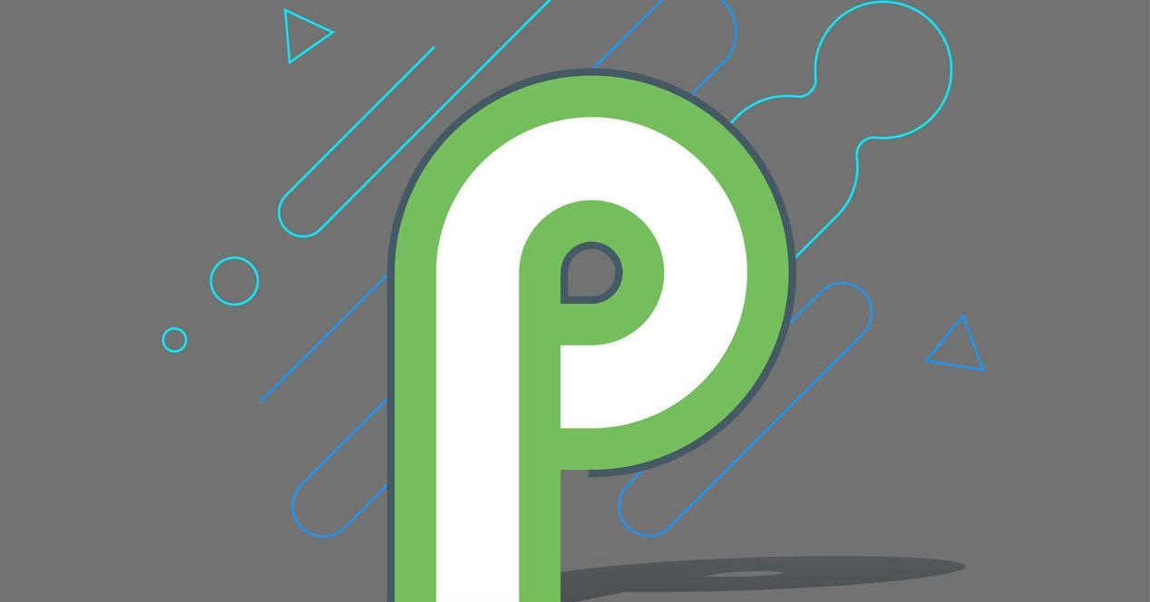 Logotipo de Android Pie con fondo gris