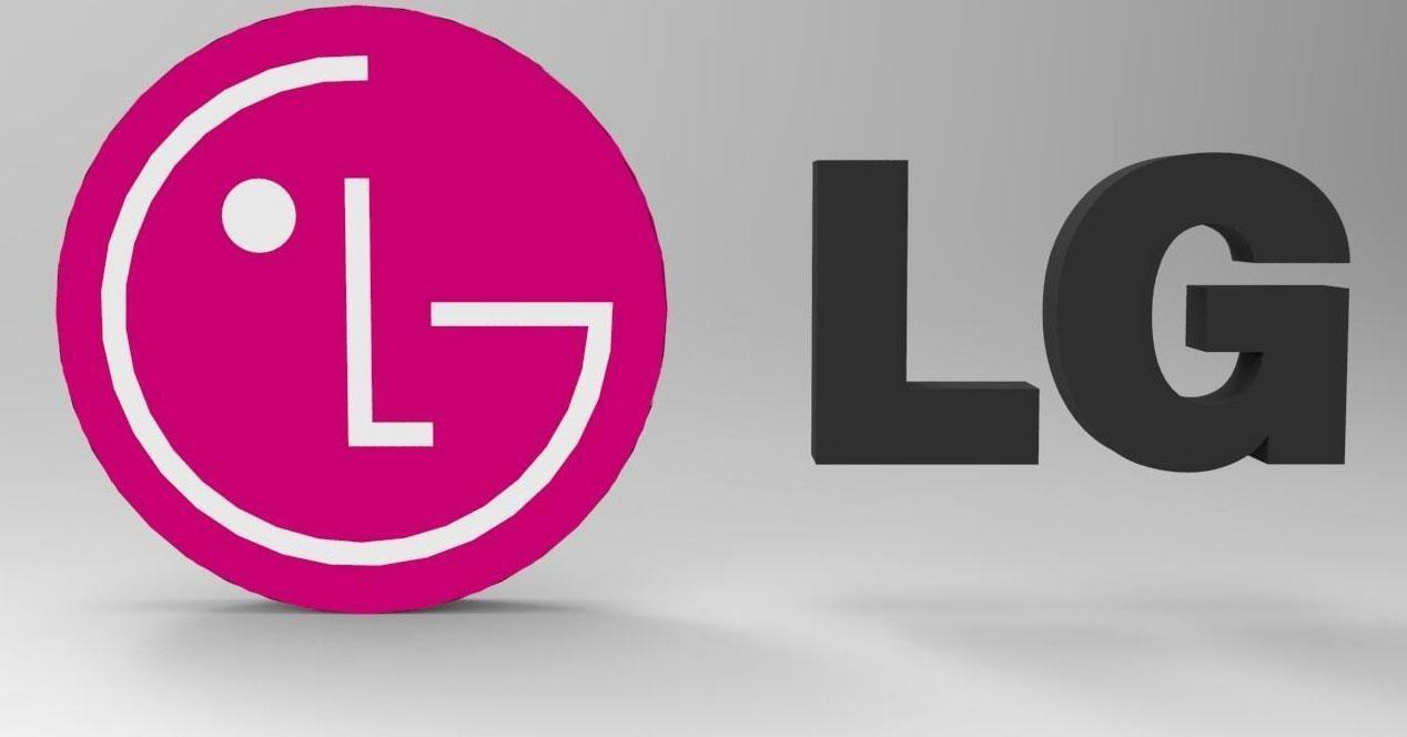 Logotipo de LG con sombra y fondo gris