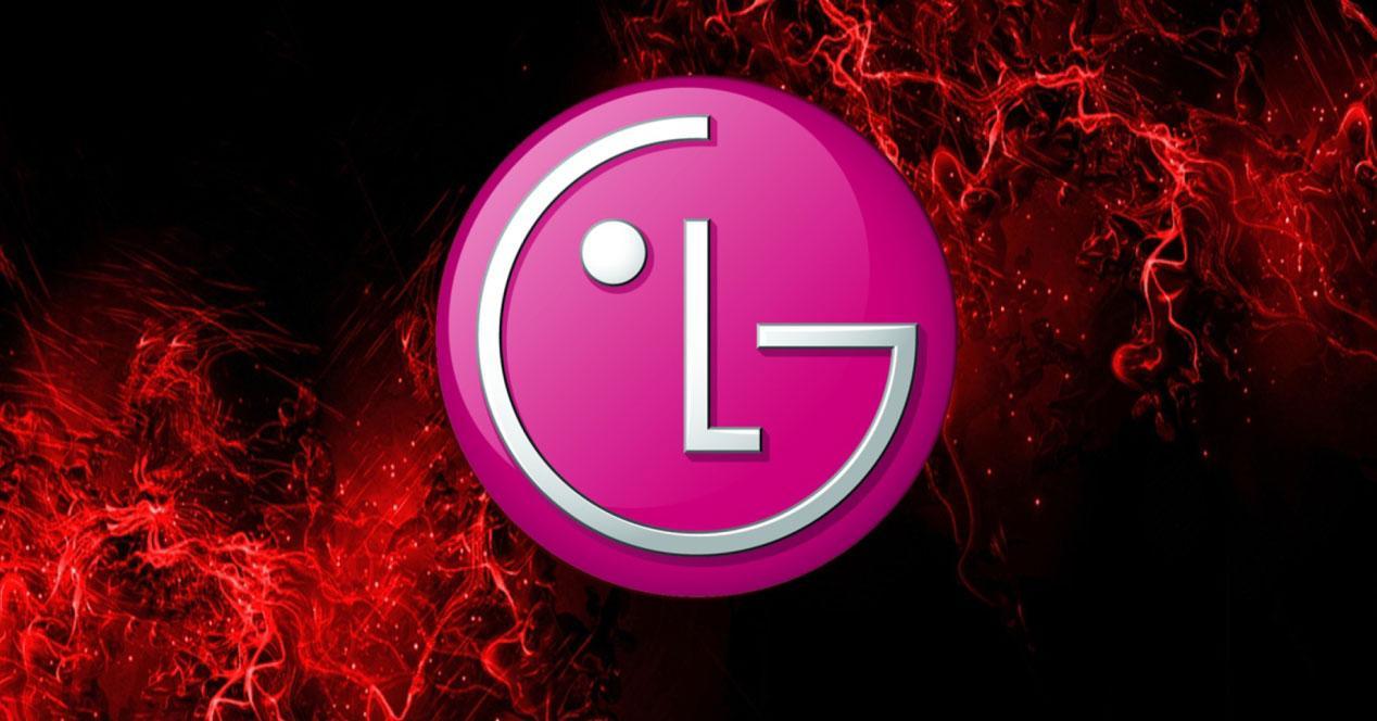 Logotipo de LG con fondo negro y llamas