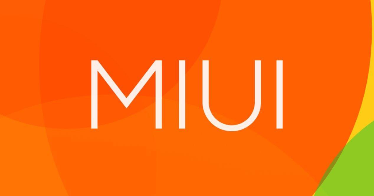Logotipo de MIUI con fondo de color naranja