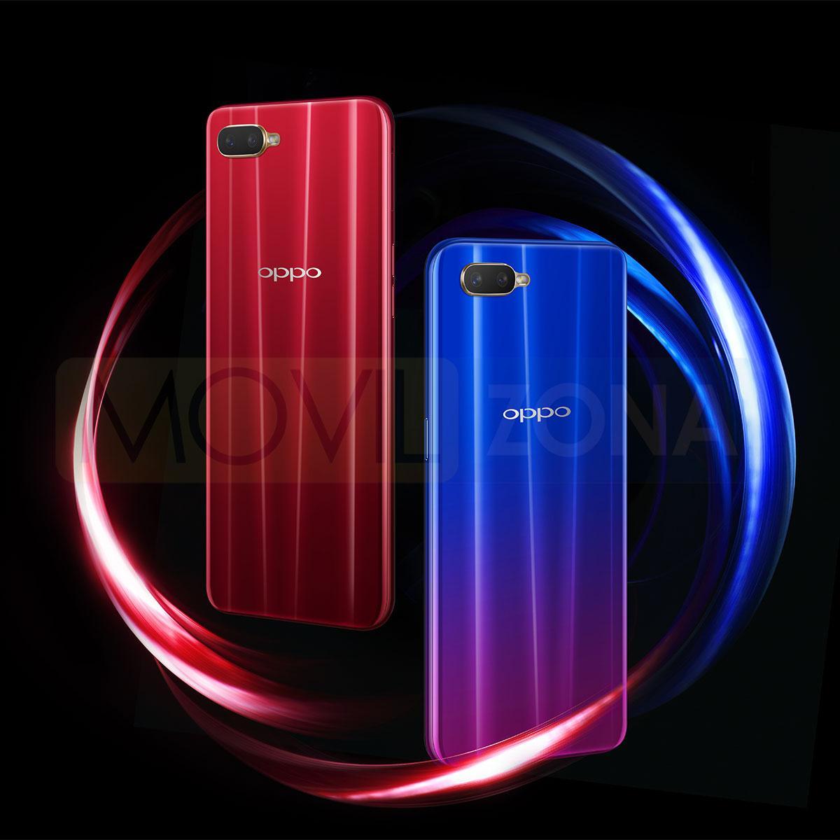 Oppo RX17 Neo rojo y azul
