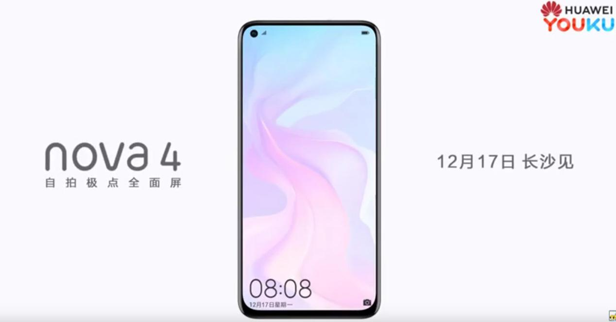 Pantalla del Huawei Nova 4 en un vídeo comercial