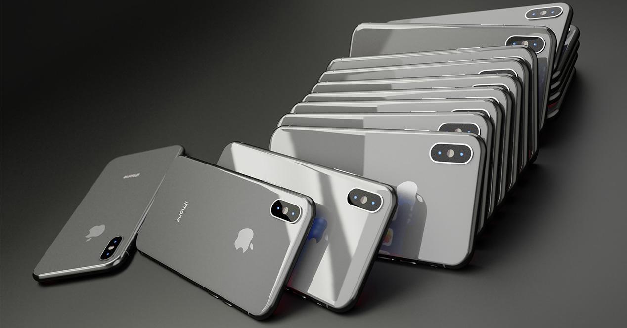 Muchos iPhone X apilados uno detrás de otro