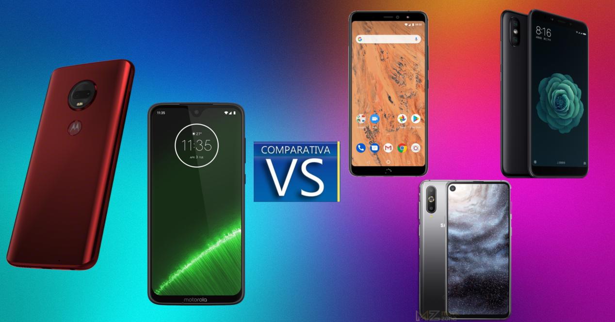 Motorola Moto G7 y G7 Plus vs Xiaomi Mi A2 Lite BQ Aquaris X2 y Galaxy A8s