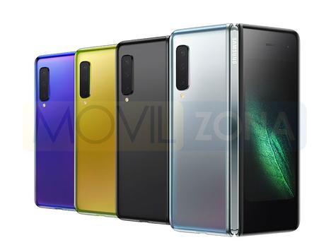 Samsung Galaxy Fold colores plateado, negro, amarillo y violeta