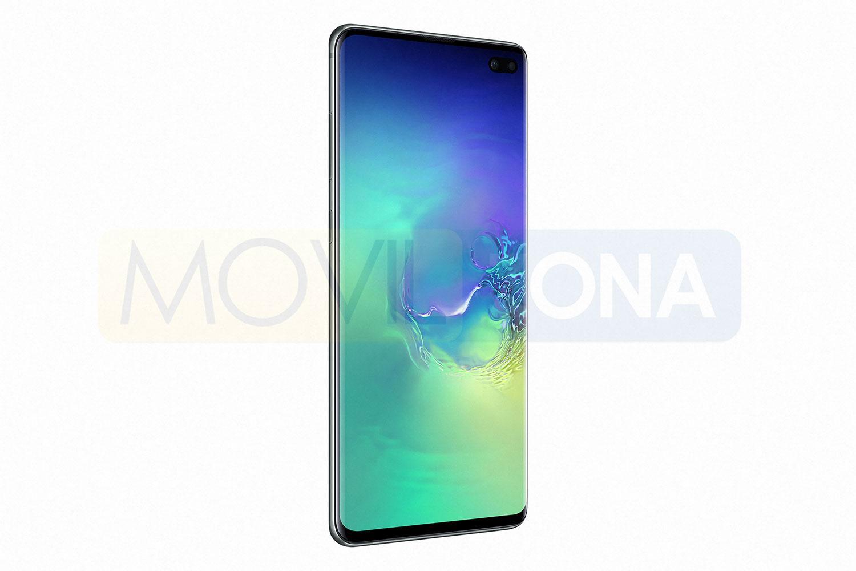 Samsung Galaxy S10 Plus lateral con pantalla encendida