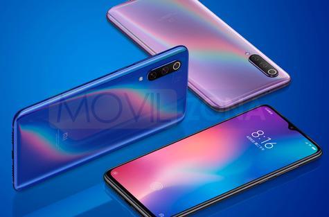 Xiaomi Mi 9 azul y rosa
