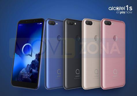 Alcatel 1S azul, negro, marrón y rosa