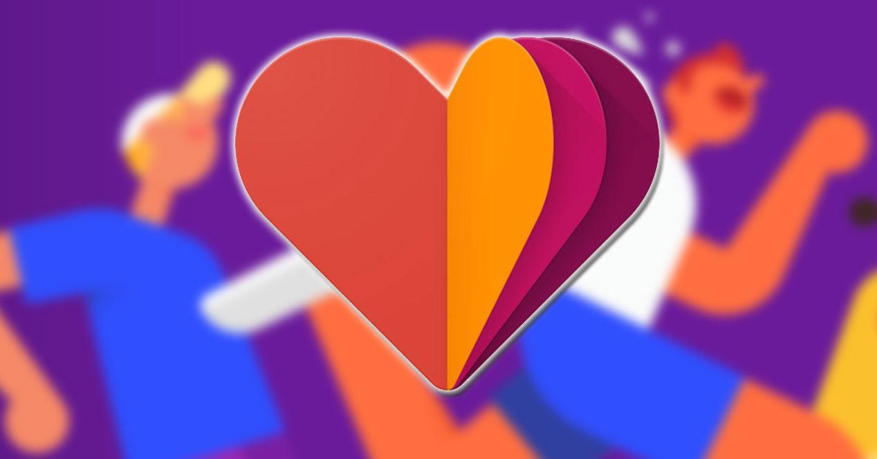 Logotipo de Google Fit con fondo de deporte