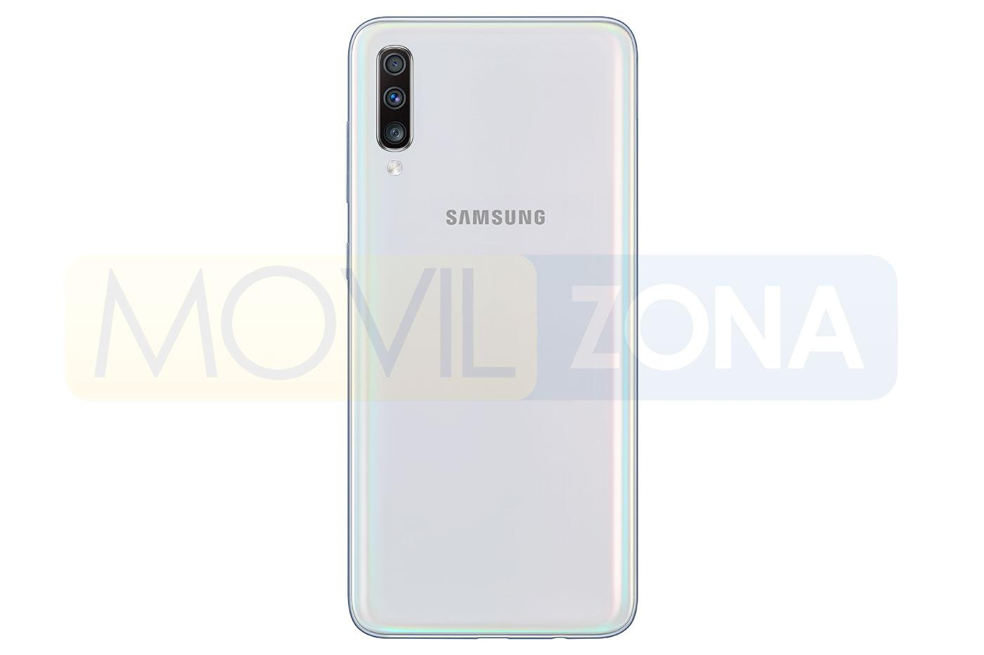 Samsung Galaxy A70 blanco cámara trasera