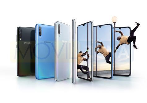 Samsung Galaxy A70 azul, negro y gris