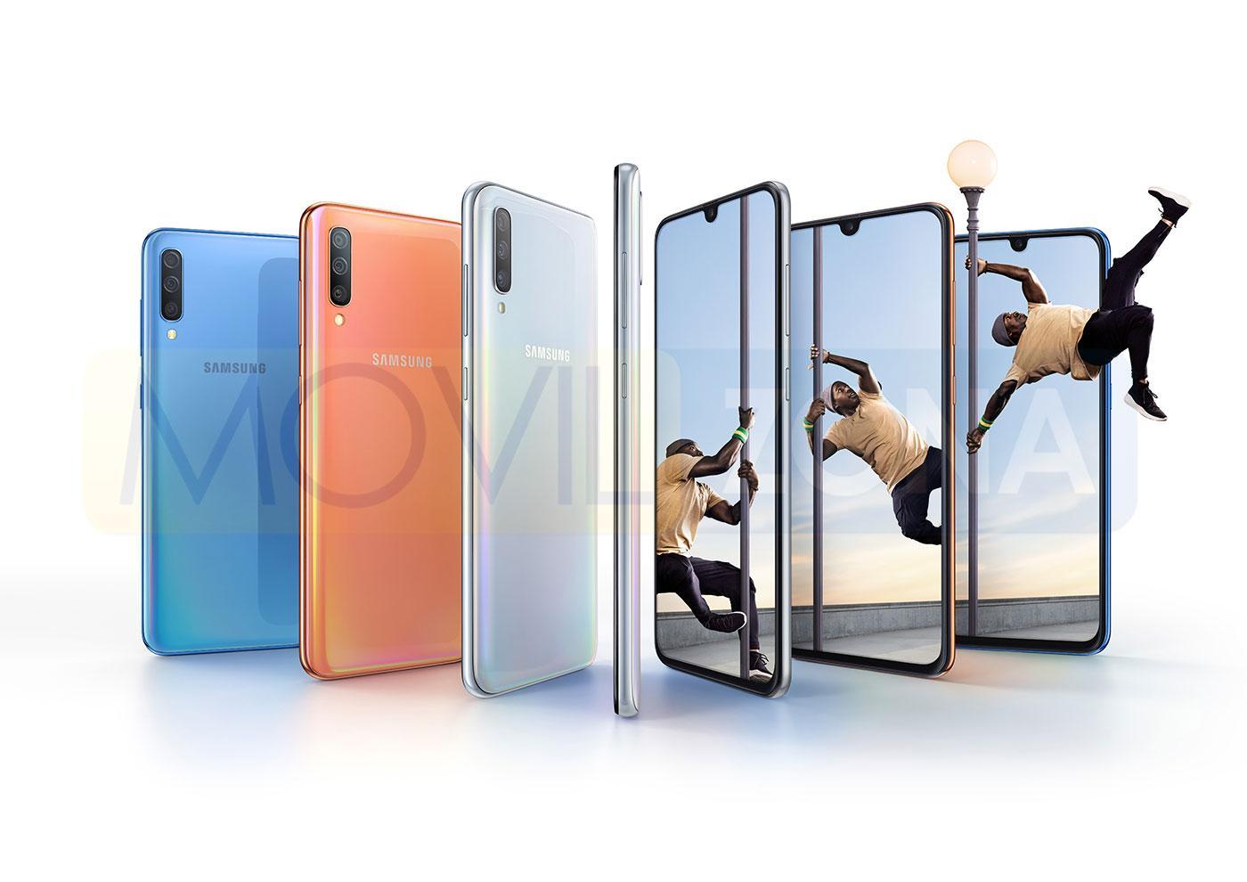 Samsung Galaxy A70 azul, naranja y gris