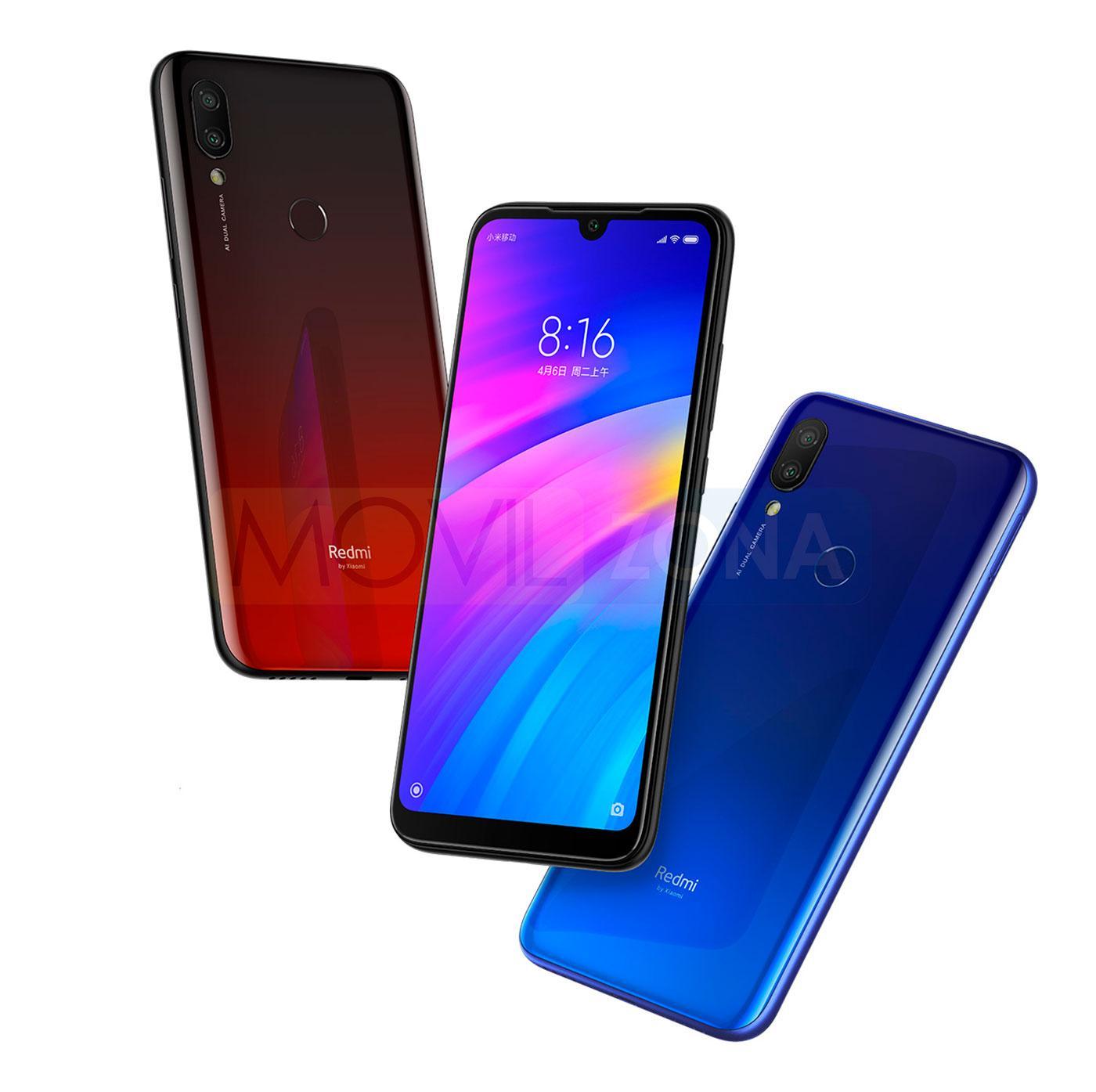 Xiaomi Redmi 7 rojo, negro y azul