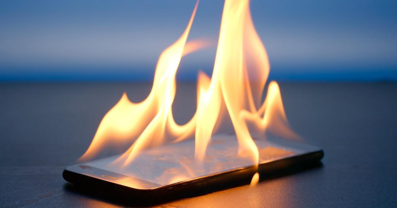 Smartphone en llamas