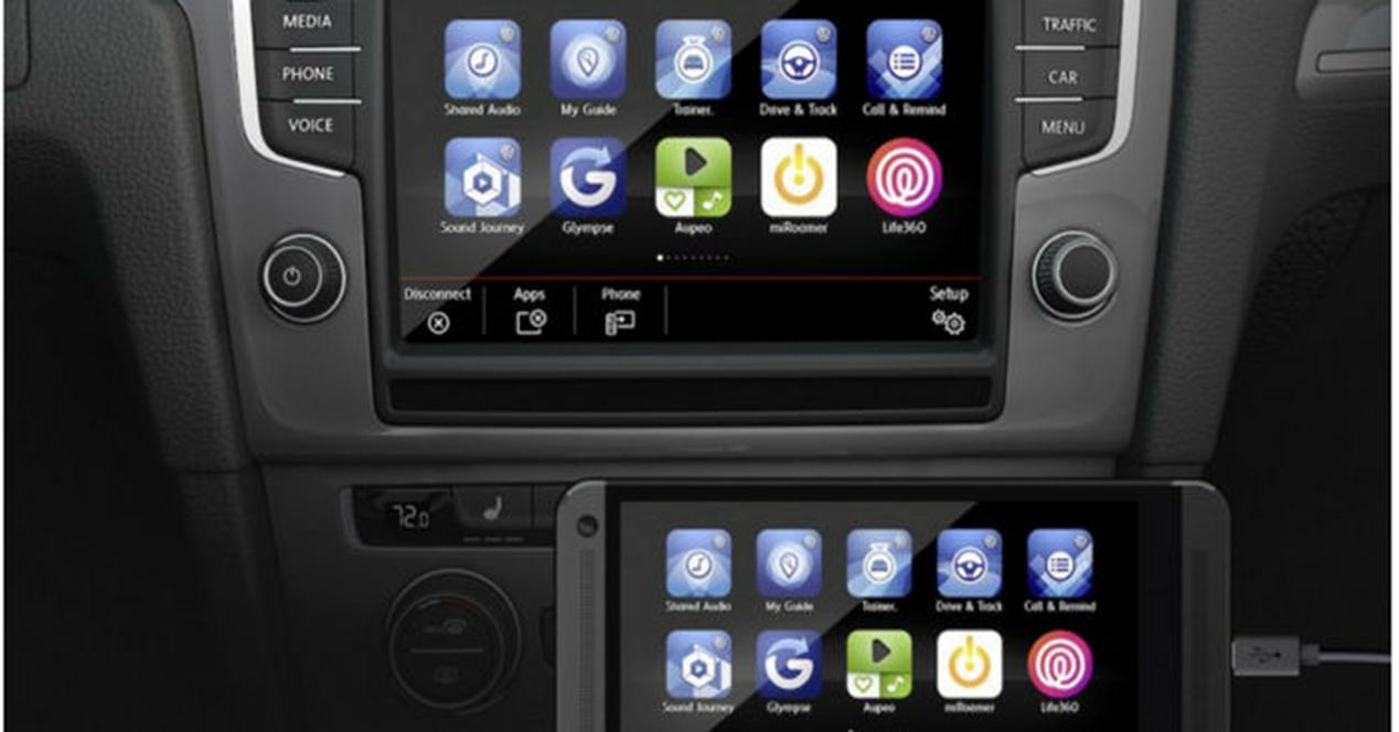 móvil conectado al ordenador del coche mediante mirrorlink