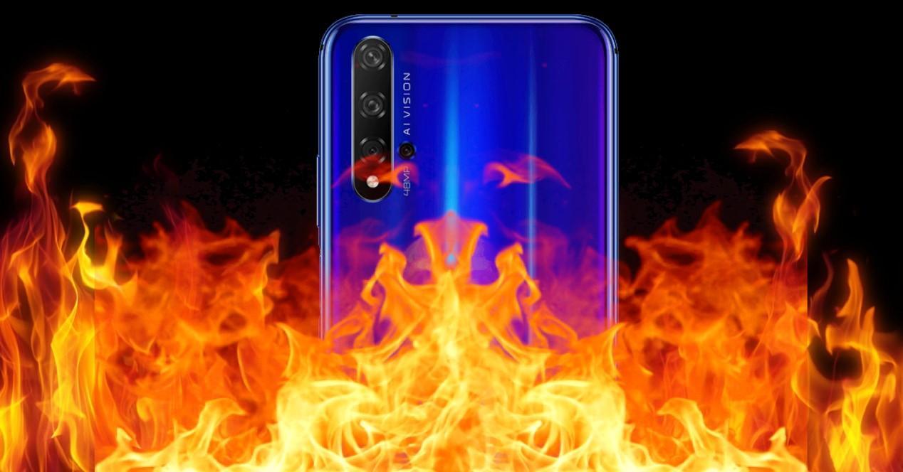 movil en llamas