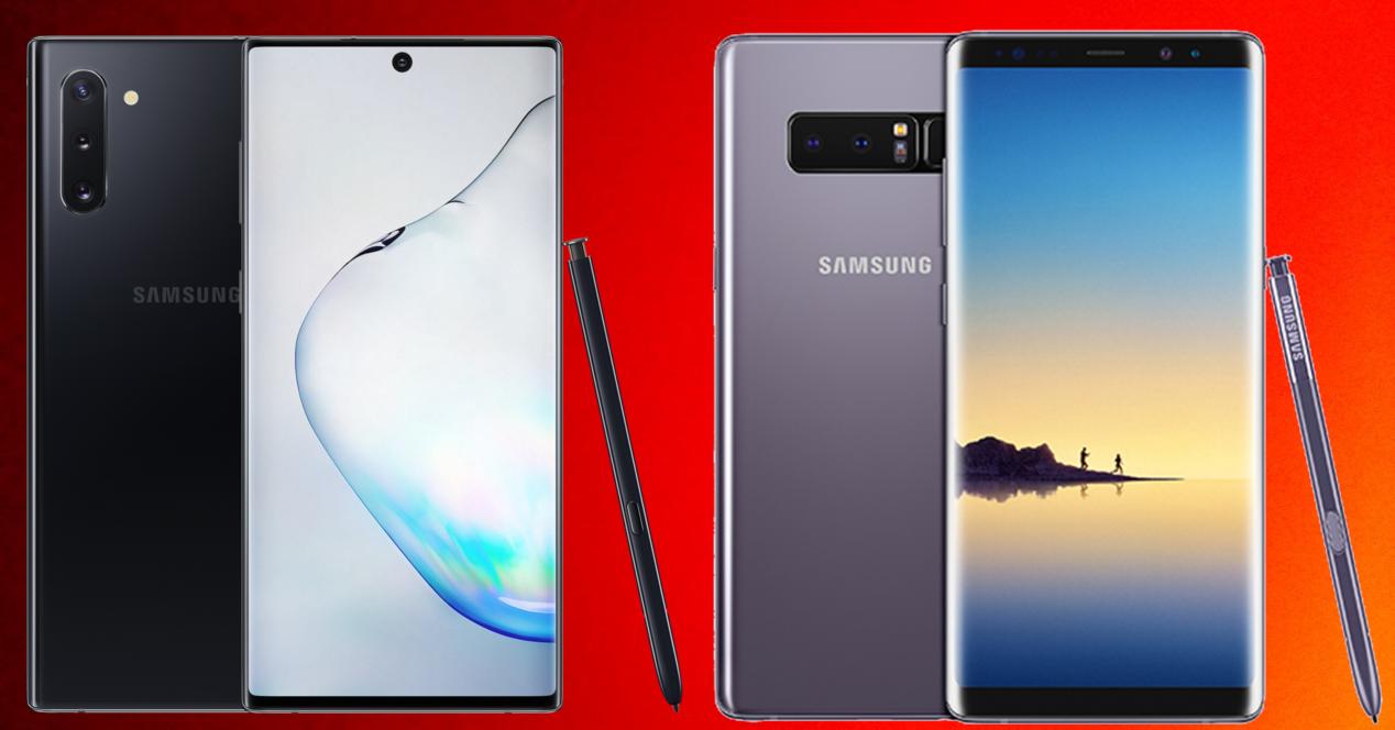 Samsung Galaxy Note 10 y Samsung Galaxy Note 8