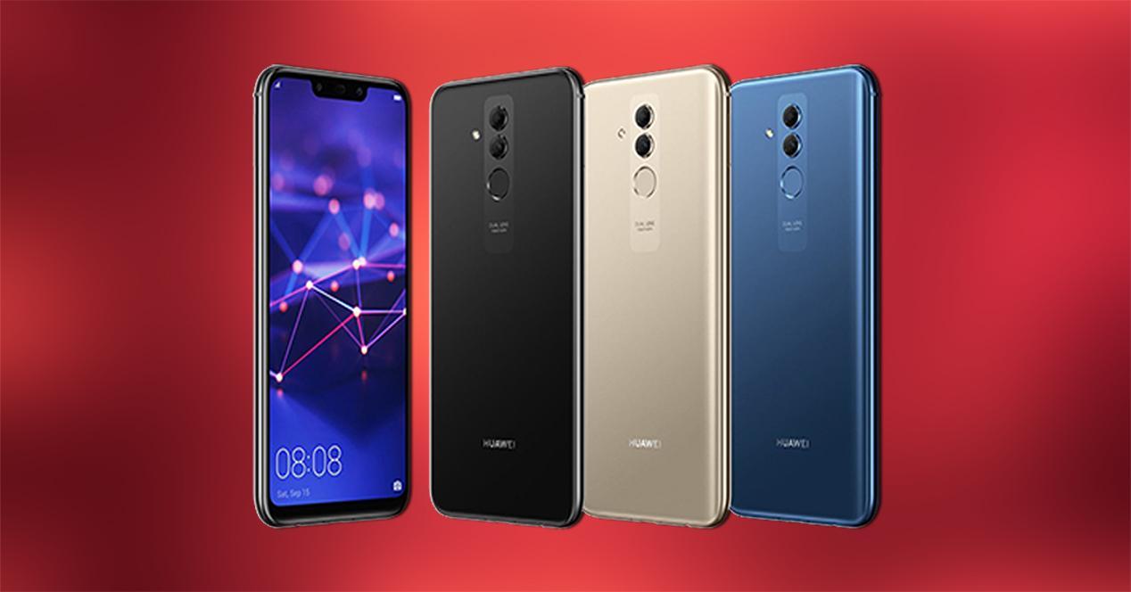Frontal y trasera en negro, dorado y azul del Huawei Mate 20 Lite
