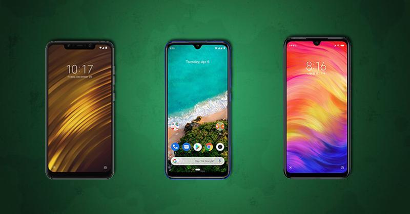 Frontal del Pocophone F1, Xiaomi Mi A3, Redmi Note 7