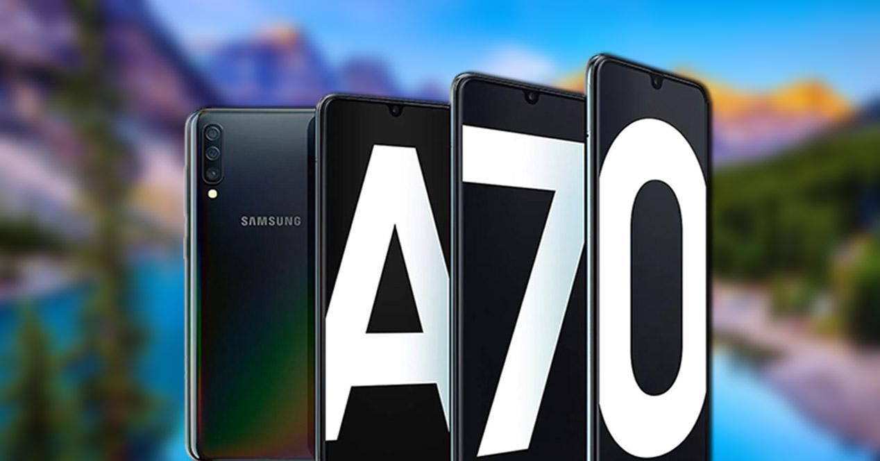 Samsung Galaxy A70 con un fondo de paisaje