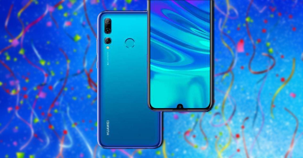Frontal y trasera del Huawei P Smart+ 2019 sobre fondo de confeti
