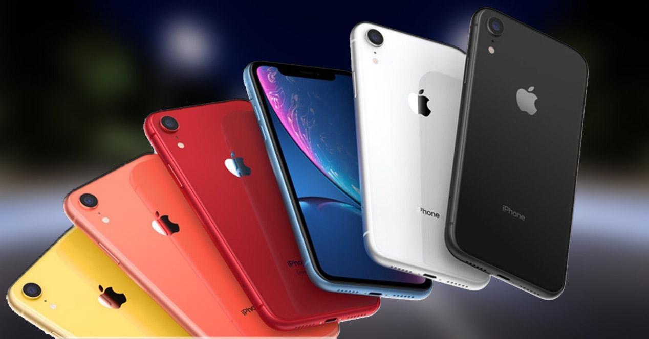 Frontal y trasera iPhone XR en varios colores