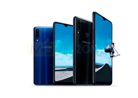 Samsung Galaxy A20s azul y negro