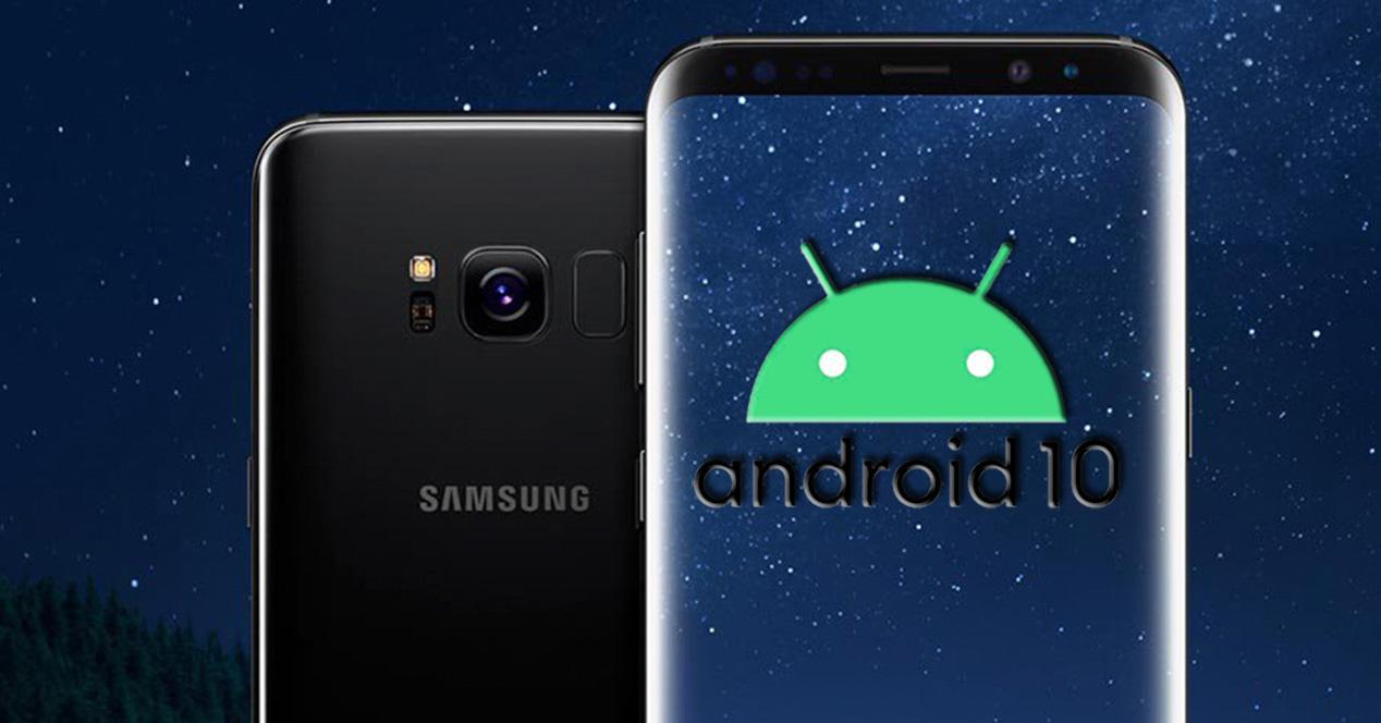 Frontal y trasera del Galaxy S7 con logo Android 10