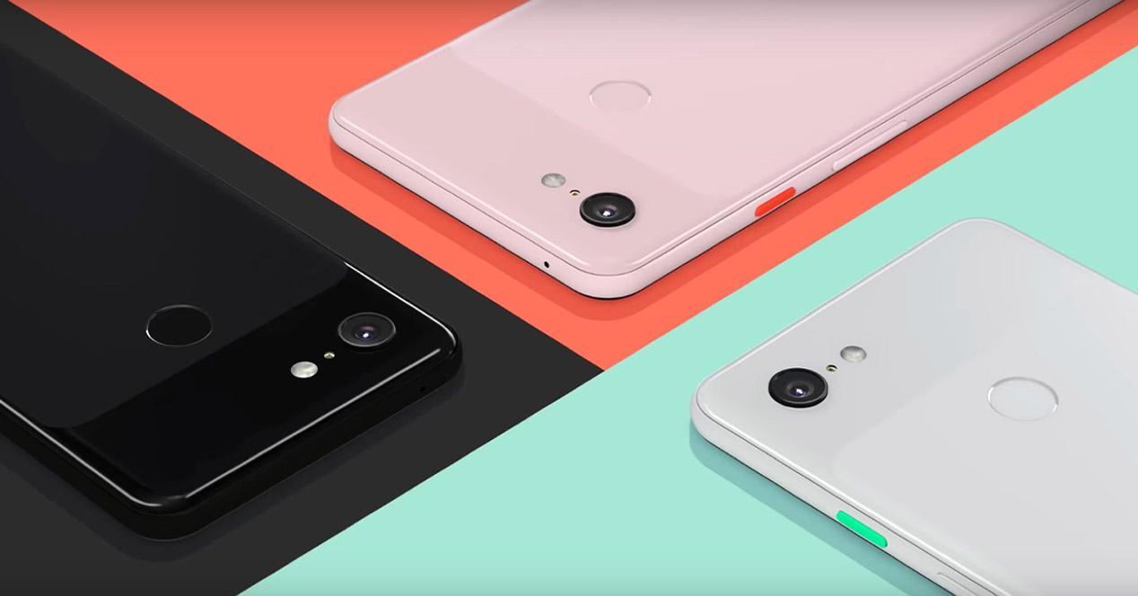 Trasera del Pixel 3 XL en varios colores