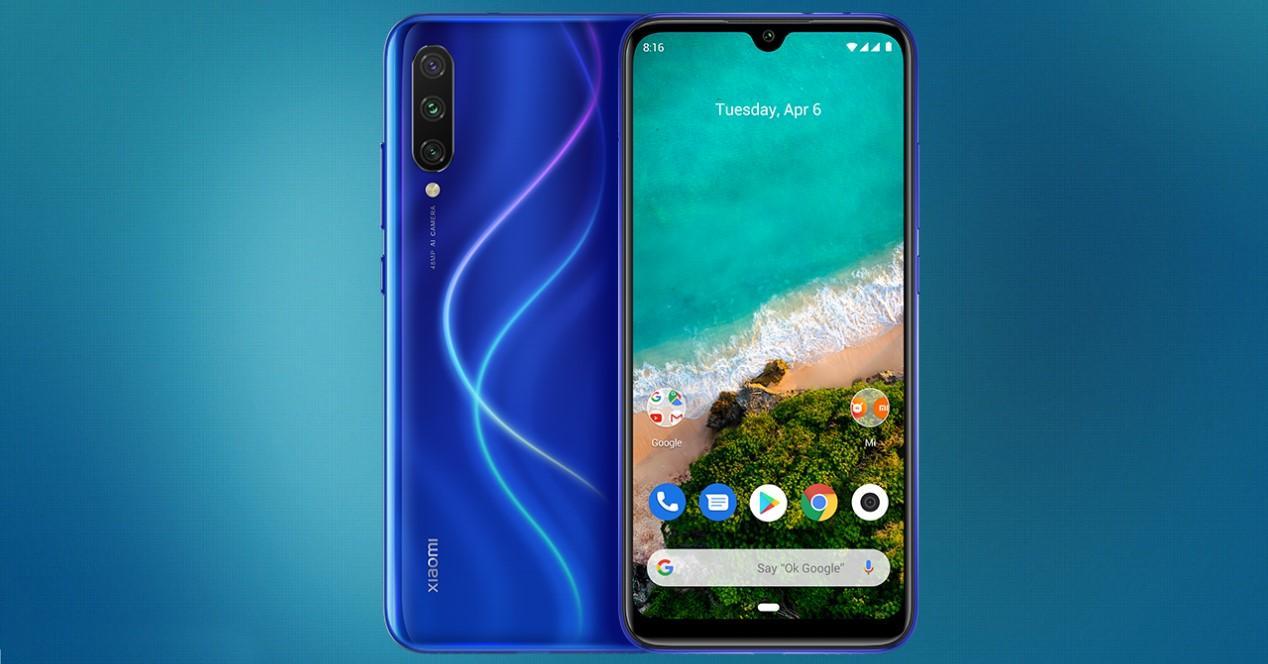Xiaomi Mi A3 sobre fondo azul