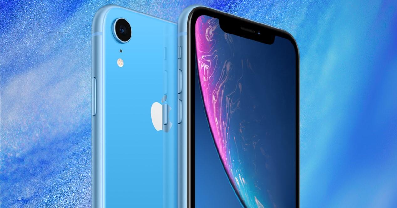iPhone XR fondo azul