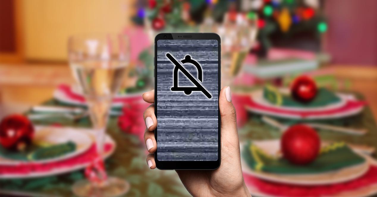 No molestar silencio móvil en la cena Nochebuena