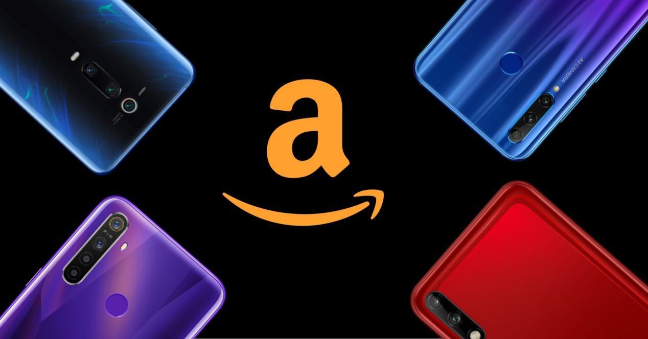 Amazon moviles sobre fondo negro