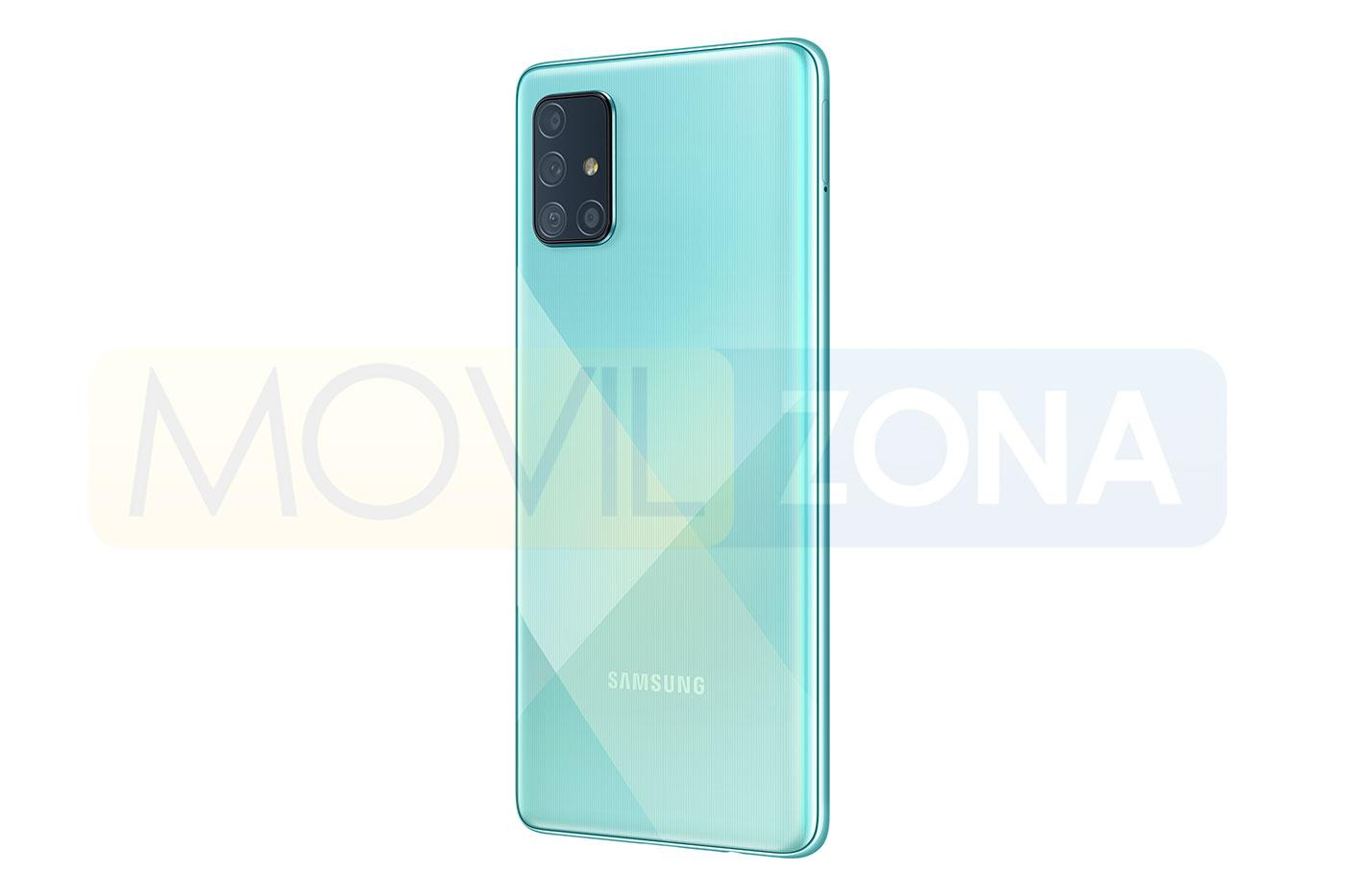 Samsung Galaxy A71 azul lateral