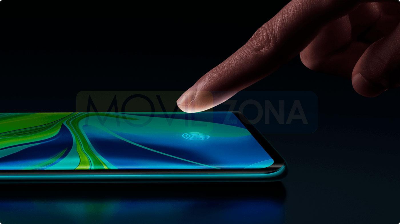 Xiaomi Mi Note 10 huella dactilar