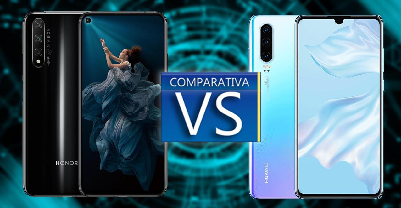 comparativa honor 20 y huawei p30