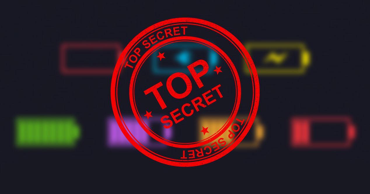 menú secreto batería