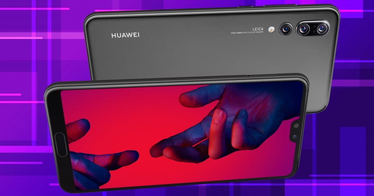 Huawei P20 Pro con fondo morado