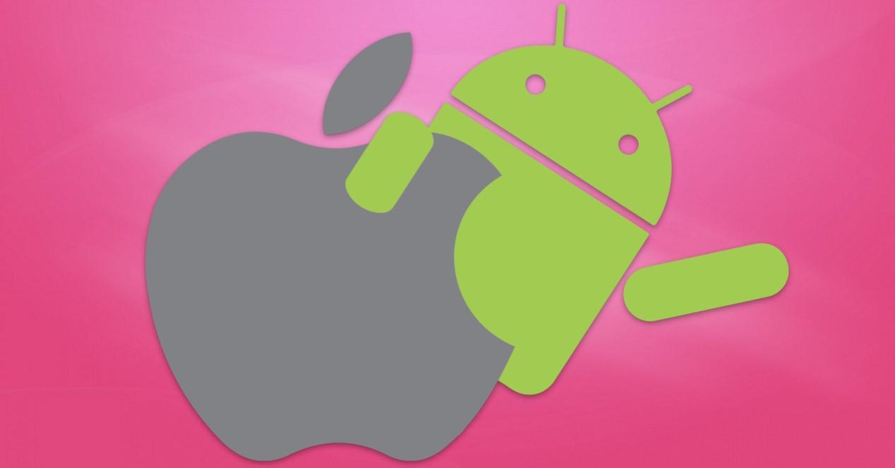 Android y logo de Apple