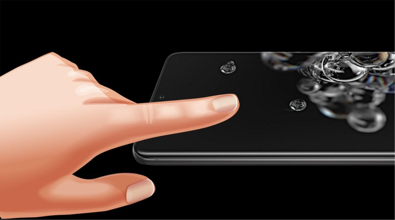 galaxy s20 y dedo tocando pantalla