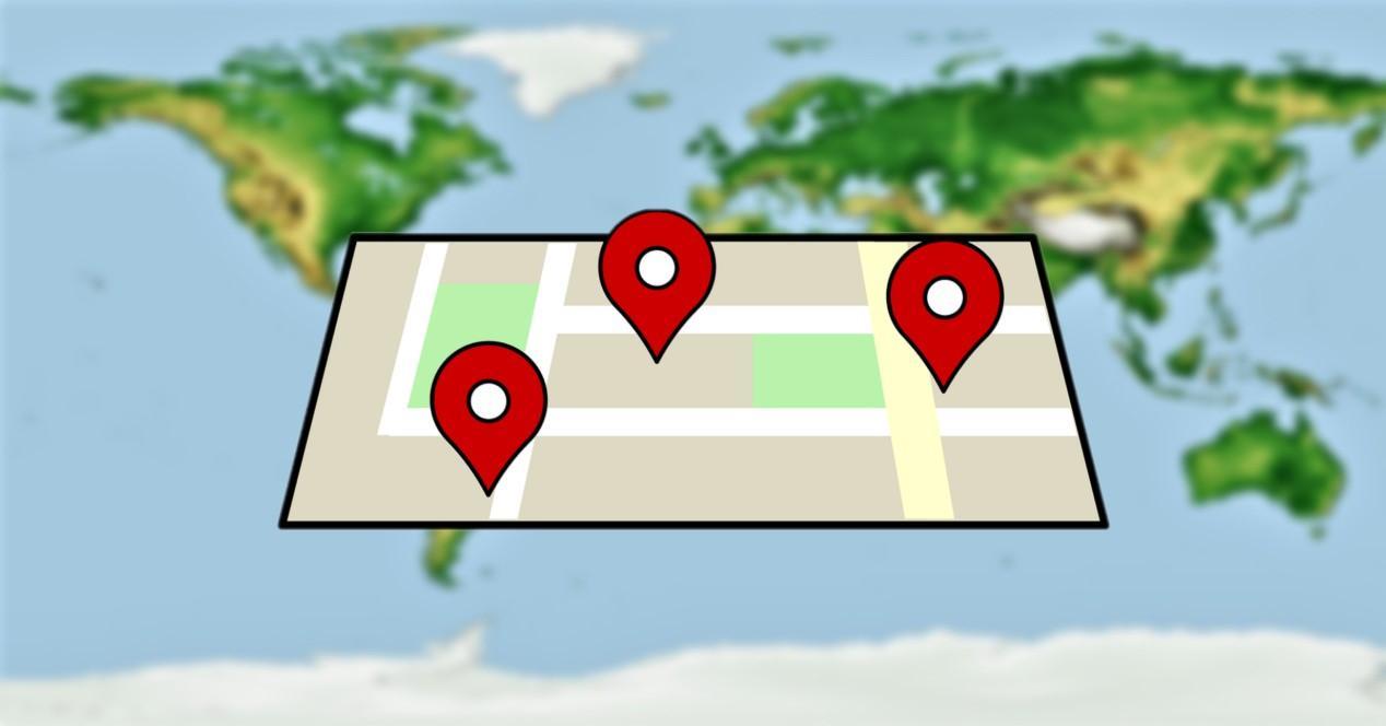 ubicaciones en un mapa