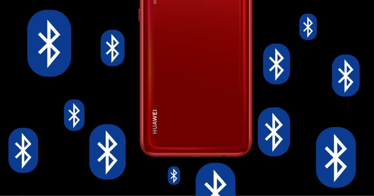 Movil Huawei y logos de Bluetooth