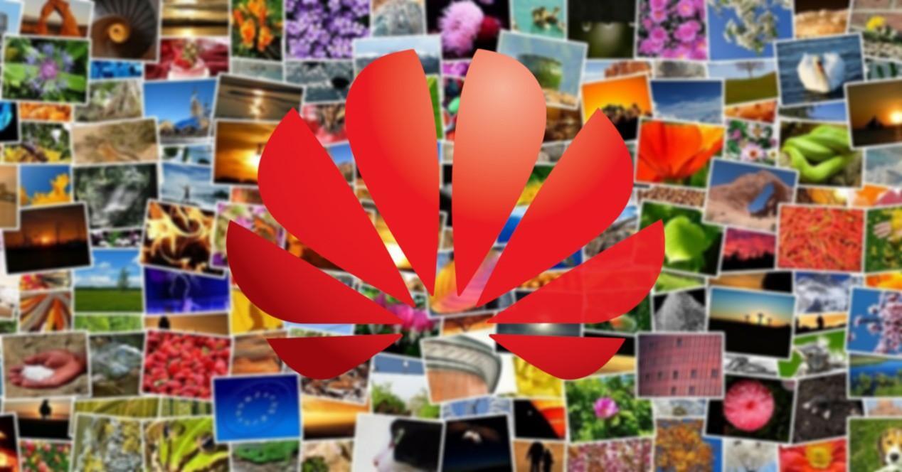 collage de fotos y logo de Huawei