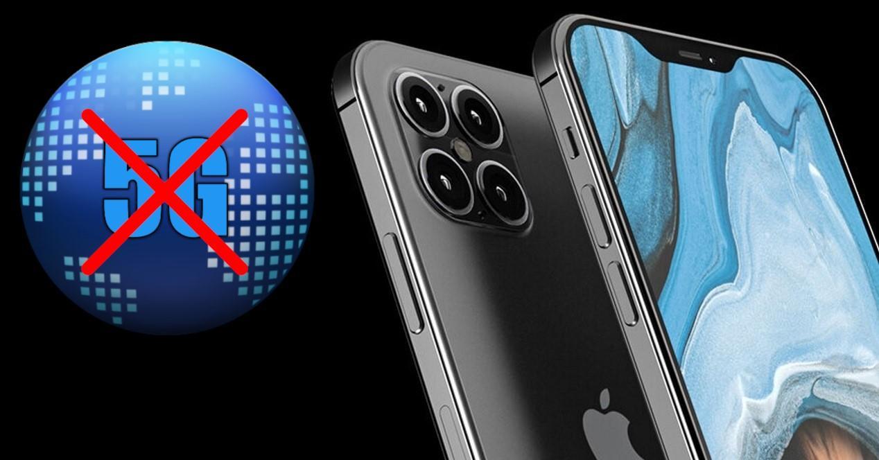 concepto del iphone 12 y logo de 5g tachado